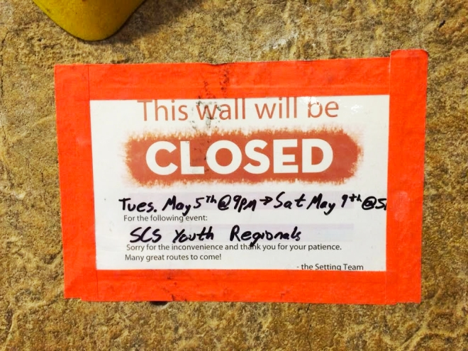 Wall Closures Signs for Competitions at Mesa Rim